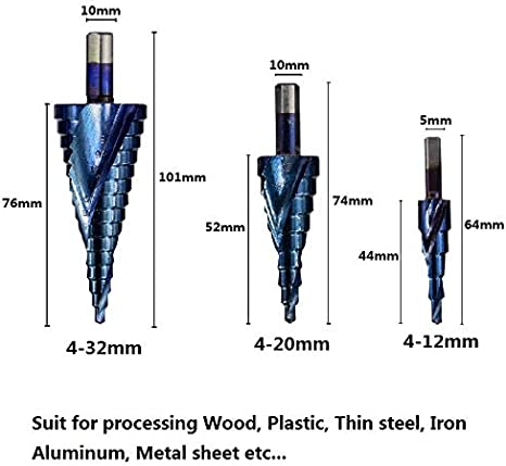 3PCS 4-12//20//32mm HSS Spiral Grooved Center Solid Carbide Drill bit P6M5 Super Blue Nano Coating Step Cone Drill Bit Color : 3pcs Straight Drill