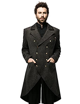 Men's Steampunk Jackets, Coats & Suits Steampunk Dandy Retro Military Double-Breasted Tweed Tuxedo Frock Coat $205.00 AT vintagedancer.com