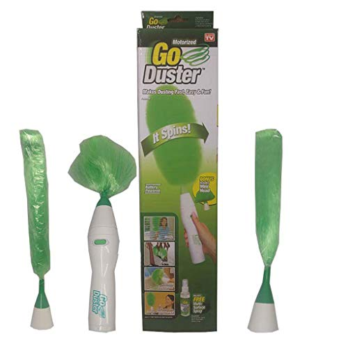 Electric Go Duster-Lightweight - Perfectly Balanced - Battery Operated - Cordless - Static Electricity - Spinning Action - over 250 RPM - Easy to Clean and Use - Soft-touch button ( Color : Green )