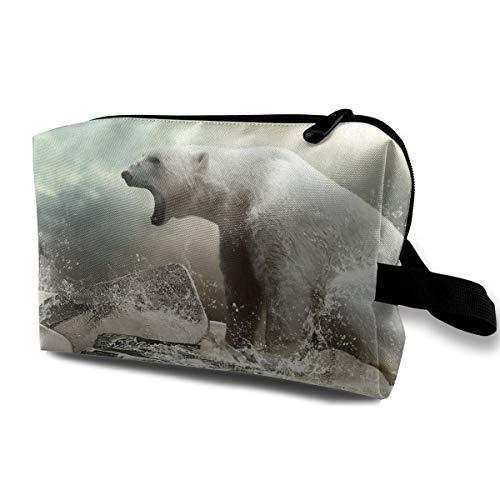 Travel Makeup Cosmetic Bag Brush Pouch Polar Bear On Ice Zipper Pen Organizer Carry Case -