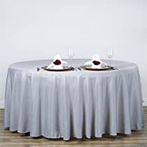 "BalsaCircle 120"" Round Polyester Tablecloth Wedding Table Linens - Silver"