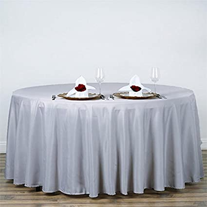 BalsaCircle 120 Inch Silver Round Polyester Tablecloth Table Cover Linens  For Wedding Party Events Kitchen