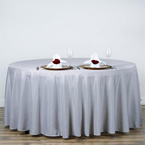 BalsaCircle 120' Round Polyester Tablecloth Wedding Table Linens - Silver