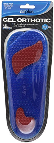 Airplus Gel Orthotic 3/4 Length Comfort and Stability Shoe Insoles for Men or Women