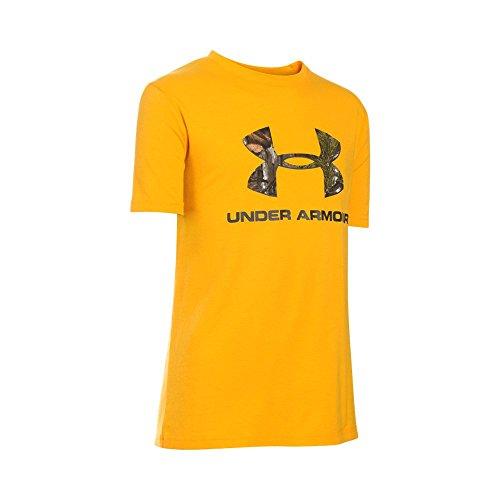 Under Armour Boys' Camo Fill Big Logo Short Sleeve T-Shirt, Steeltown Gold/Artillery Green, Youth (Fill Short Sleeve T-shirt)