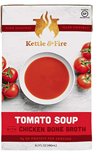Kettle and Fire Soups with Collagen & Gelatin Rich Bone Broth, Paleo and Keto Friendly Boxed Soups To Go (Tomato, 2 Pack)