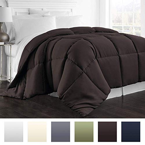 SL Supreme Linen King/California King Chocolate Down-Alternative Comforter - Duvet Insert - 300 TC Cover, 100% Down Alternative Fill