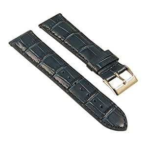 StrapsCo Crocodile Embossed Leather Watch Band - Quick Release Strap - 22mm - Midnight Blue