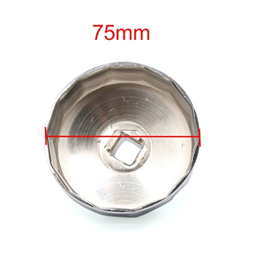 uxcell 14 Flutes 75mm Inner Dia Stainless Steel Car Oil Filter Wrench Cap Tool Remover by uxcell (Image #1)'