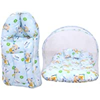 Toddylon Baby Mattress with Mosquito Net and Sleeping Bag Combo (Multicolour, 0-8 Months)