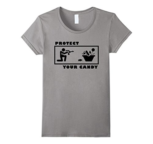 Hillbilly Costume Ideas For Women (Womens Protect your Candy Shirt Funny Halloween Trick or Treat Small Slate)