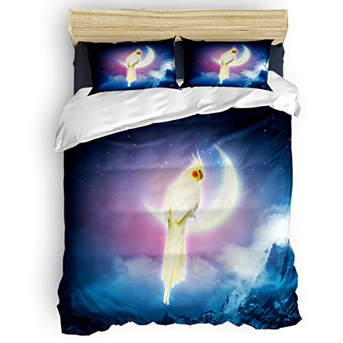 Arts Language Home Duvet Cover Set Full Size for Kids/Adults/Teens Parrot and Moon Starry Sky Snow Mountain Soft 4 Pcs Bedding Set with Duvet Cover, Fitted Sheet, -