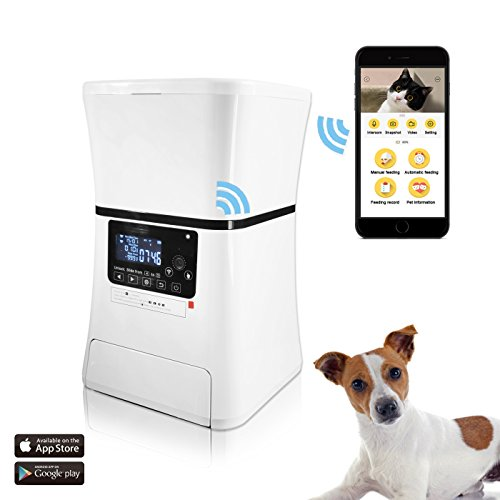 Automatic Pet Feeder, Smart Programmable Food Dispenser for Dog & Cat. Built In Wi-Fi Webcam. For Dry & Wet Food. With IOS & Android APP, 6 lb Capacity by ARTDOU