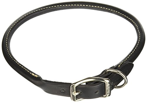 Coastal Pet Products DCP120620BLK Leather Circle T Oak Tanned Round Dog Collar, 20 by 3/4-Inch, Black