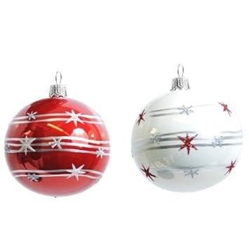 Christbaumkugeln Weiß Glas.Amazon De 2stk Christbaumkugeln Glas Rot Und Weiß Handbemalt
