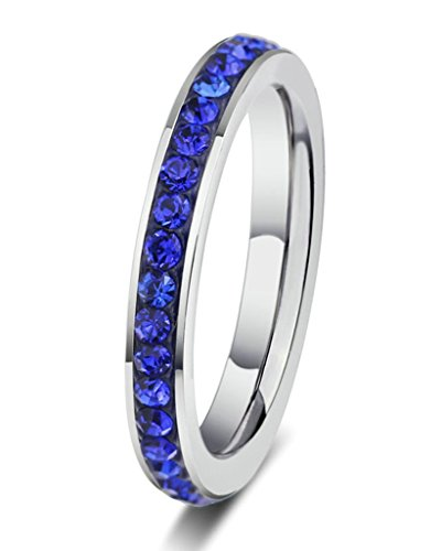 KnSam Women Stainless Steel Eternity Ring 3MM Stack Ring All-around Ring Blue Crystal Size 5