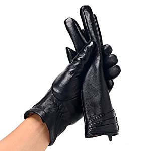 Bthdhk Women's Winter Genuine Leather Touchscreen Fleece Lining Driving Gloves (Large)