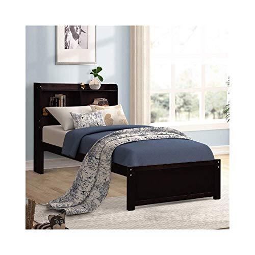(ZHIC Bookcase Platform Bed Twin Bed Frame Mattress Foundation with Storage Headboard Platform Storage Bed Bedroom Furniture, I Have a Better Life. (Color : Espresso-Bed))