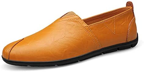 You Are Fashion ファッションカジュアル男性ローファー高品質金属装飾アップリケリアル本物の革の靴男フラットシューズつま先の靴フロント弾性ベルト小さなsize36レジャーボートモカシン (Color : Yellow Brown, サイズ : 25 CM)