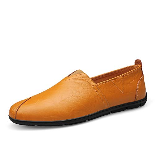 Jun Mens Loafers - Italian Dress Casual Loafers for Men - Slip-on Driving Shoes - in Gift Shoe Bag (Color : Brown, Size : 11 M US)