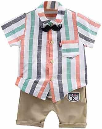 082c7363fd31 Lisin Toddler Baby Kids Boys Short Sleeve Stripe Tops T-Shirt Letter Short  Pants Outfits