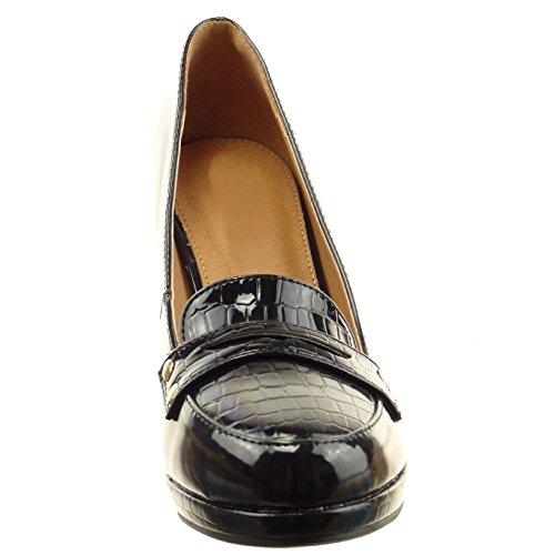 Sopily - Zapatillas de Moda Tacón escarpín Mocasines Tobillo mujer piel de serpiente patentes metálico Talón Tacón ancho alto 9 CM - Negro