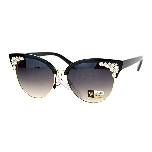 SA106 Rhinestone Bling Iced Out Half Rim Cat Eye Designer Sunglasses Black Gold