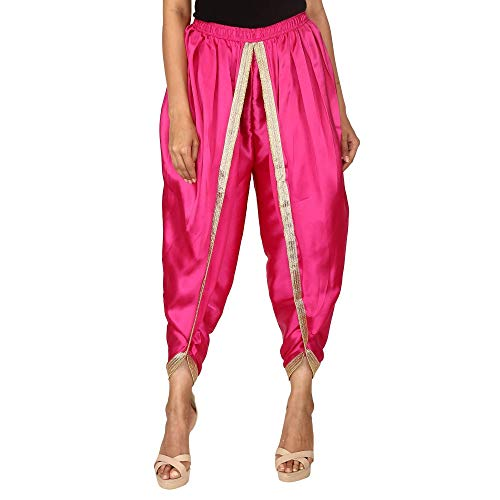 Hot Pink Color Satin Silk Dhoti Pant, Patiala Dhoti Salwar, Dhoti Trousers for Women, ()