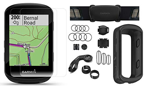 Garmin Edge 530 (2019 Version) Cycle GPS Bundle with Chest Strap HRM, Bluetooth Speed/Cadence Sensors, Silicone Case & Screen Protectors (x2) | Navigation, Mounts | Bike Computer (Black + Sensors)
