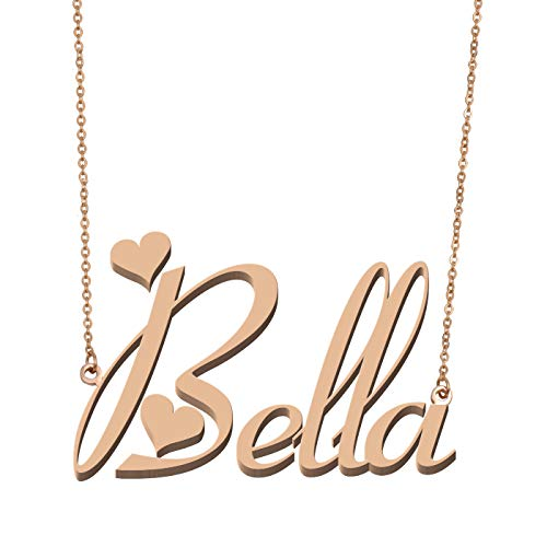 Necklace Gold Belle - Aoloshow Customized Custom Name Necklace Personalized - Custom Made Bella Necklace Initial Monogrammed Gift for Womens Girls