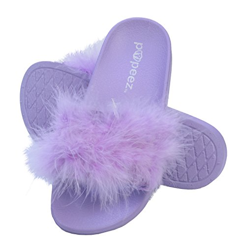 7a70169cd955c7 Pupeez Girls Open Toe Flip Flop Slide Slippers with Soft Faux Fur Top and  Hard Sole