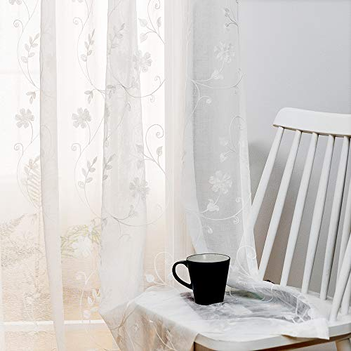 """Sheer Curtains White 63 Inch Embroidered Floral, Rod Pocket Voile Drapes for Living room, Bedroom, Window Treatments Semi Crinkle Curtain Panels for Yard, Patio, Villa, Parlor, Set of 2, 52""""x 63""""."""