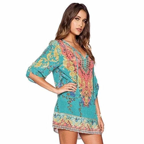 Kwok Dress, Women's 3/4 Sleeves Chiffon Vintage Print Loose Party Mini Dress (XL)