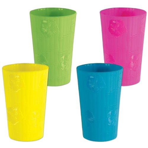Beistle 50268paquete de 12plástico bambú y vasos de hibisco, 18-ounce