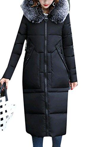 Incappucciato Moda Di Cappotto Lunga Femminile Manica Collo Gocgt Nero Giù Pelliccia OAIH0q