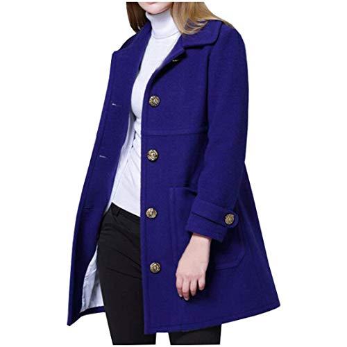 Invierno Azules Mujer Fit Jacken Battercake Cálido Vintage Manga Larga Prendas Bolsillos Con Otoño De Slim Moda Elegante Solapa Unicolor Abrigo wqWA4BcF
