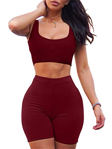 GOBLES Women's Sexy Bodycon Tank Crop Top Shorts Sets Club 2 Piece Outfits Wine Red 2 Piece Skirt Jacket