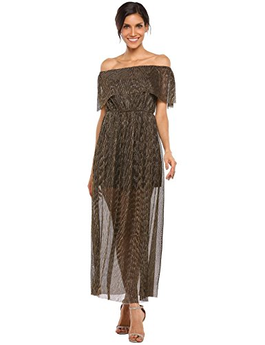 AL'OFA Women Elegant Off Shoulder Fit and Flare Club Cocktail Long Dress Silver S