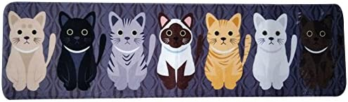 Topbeu Cute Cat Print Doormats Bathroom Kitchen Living Room Anti-Slip Carpets Home Decorator Floor Rug and Carpets 19.7 x 70.9 inch, Black