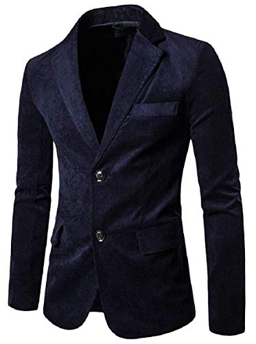 - FLCH+YIGE Men's Slim Corduroy Sport Jacket Two Botton Blazer Elbow Patches Navy Blue XS