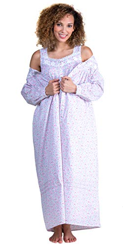 (Eileen West Cotton Lawn Sleeveless Gown and Robe Set in Floral Duchess (White/Pink/Purple, Large))