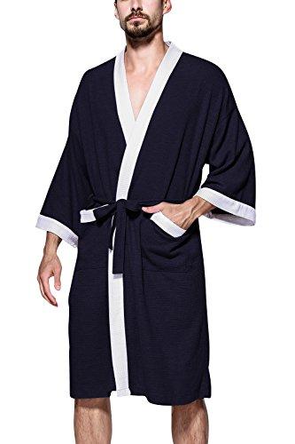 Dolamen Albornoz para Hombre y Mujer, Suave y ligero Algodón Camisón, Robe Albornoz Dama de honor Ropa de dormir Pijama, Para Spa Hotel Sauna Azul