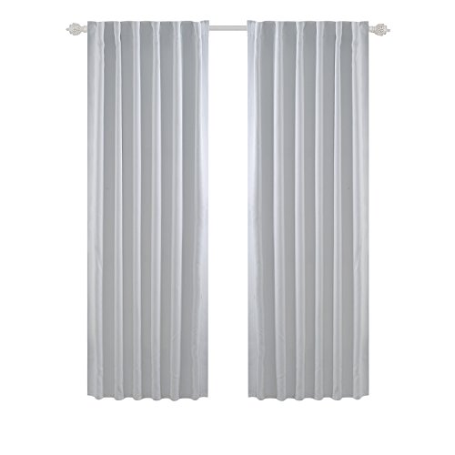 Tab Top Blackout Curtains - Deconovo Back Tab and Rod Pocket Curtains Blackout Curtains Thermal Insulated Room Darkening Curtains for Living Room 52x84 Inch Platinum 2 Panels