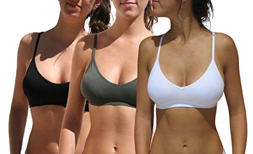 Blue 55 Women's Sexy Everyday Basic Deep V-Neck Padded Bralette Racerback (S/M, 3 Pack: Black White - Blue 55