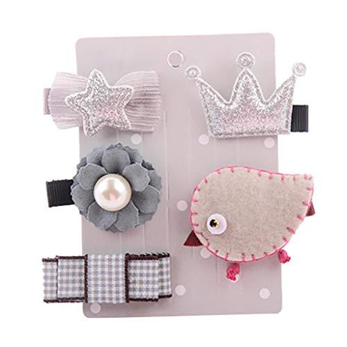 Tronet Baby Hair Clips, Kids Girls Cartoon animal motifs Hairpin Hairband Headwear Set (E, 4-5CM)