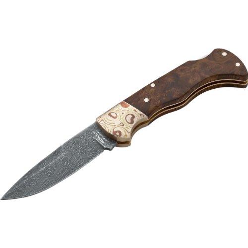 Boker 110144DAM Mokume Damascus Knife with 3 1 8 in. Stainless Steel Blade