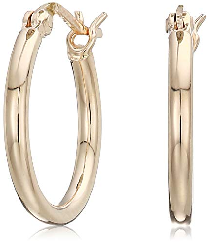 Women's 18k Yellow Gold Plated Sterling Silver 2mm Round Tube Hoop Earrings, One Size
