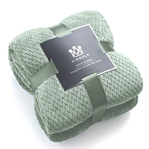 Kingole Flannel Fleece Luxury Throw Blanket, Laurel Green Twin Size Jacquard Weave Pattern Cozy Couch/Bed Super Soft and Warm Plush Microfiber 350GSM (66