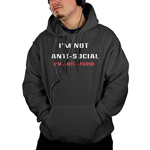 EdisonTuttle I'm Not Anti-Social Mens Pullover Hoodie Long Sleeve Casual Sweatshirt Large Black (Christmas Uk Jumpers H&m)