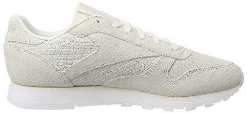 Reebok Women's Cl Lthr Woven Emb Running Shoes, Pink White (Chalk/White)